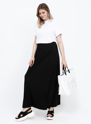 Black - Unlined - Cotton - Plus Size Skirt