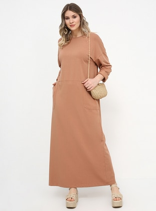8f12a05ef6e Camel - Unlined - Crew neck - Cotton - Plus Size Dress