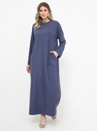 Purple - Unlined - Crew neck - Cotton - Plus Size Dress