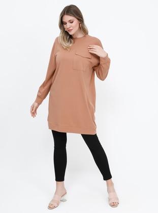 Tan - Camel - Crew neck - Cotton - Plus Size Tunic