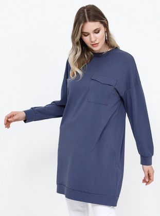 Purple - Crew neck - Cotton - Plus Size Tunic