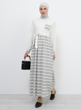 Black - Cream - Stripe - Crew neck - Fully Lined - Cotton - Dress