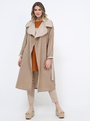 Beige - Unlined - Shawl Collar - Cotton - Plus Size Coat