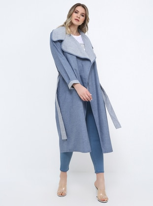 Blue - Unlined - Shawl Collar - Cotton - Plus Size Coat