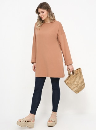 Camel - Crew neck - Cotton - Plus Size Tunic