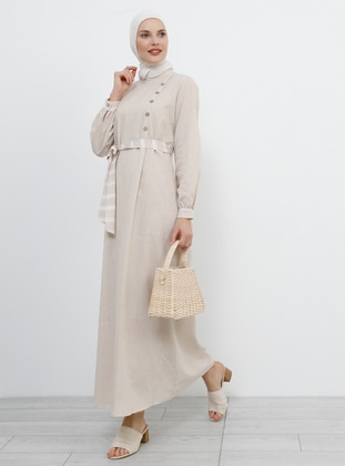 Cream - Stripe - Polo neck - Fully Lined - Cotton - Dress