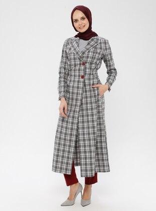 Gray - Plaid - Unlined - Shawl Collar - Topcoat