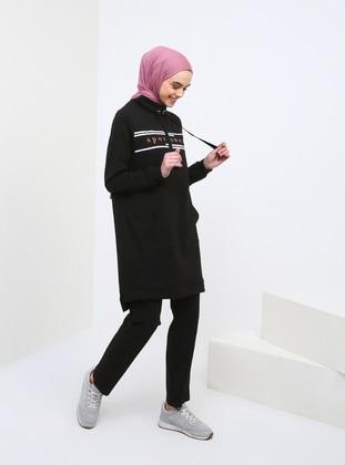 Black - Polo neck - Tracksuit Set