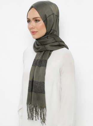 Khaki - Striped - Plain - Fringe - Viscose - Shawl