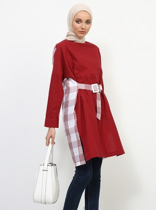 Maroon - Plaid - Crew neck - Cotton - Tunic