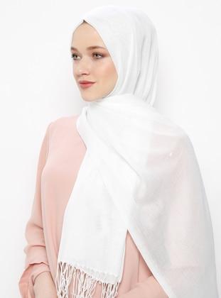 White - Ecru - Plain - Pashmina - Viscose - Shawl