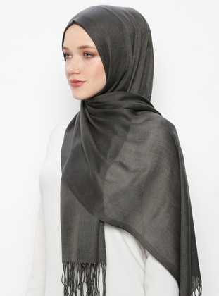 Smoke - Plain - Pashmina - Viscose - Shawl