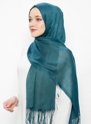 Green - Plain - Pashmina - Viscose - Shawl