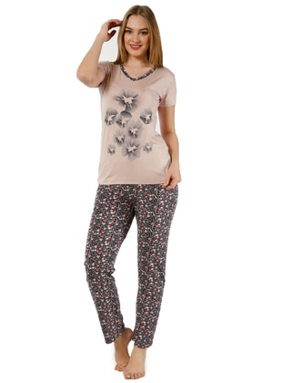 Black - Plum - Crew neck - Multi - Pyjama