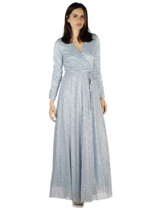 Blue - Fully Lined - V neck Collar - Muslim Evening Dress