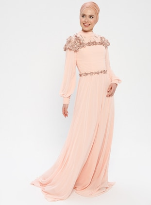 Powder - Salmon - Fully Lined - Crew neck - Muslim Evening Dress
