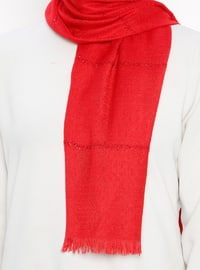 Red - Striped - Plain - Fringe - Shawl