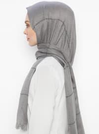 Gray - Striped - Plain - Fringe - Shawl