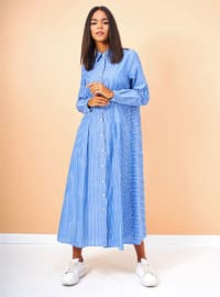 Blue - Indigo - Stripe - Button Collar - Unlined - Cotton - Dress