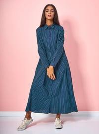 Navy Blue - Stripe - Button Collar - Unlined - Cotton - Dress