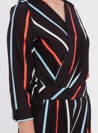 Blue - Stripe - Unlined - V neck Collar - Jumpsuit