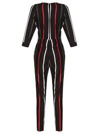 Khaki - Stripe - Unlined - V neck Collar - Jumpsuit