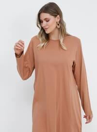 Brown - Camel - Crew neck - Cotton - Plus Size Tunic