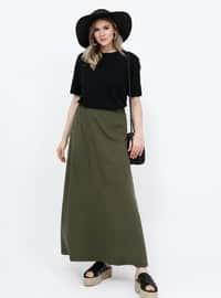 Khaki - Unlined - Cotton - Plus Size Skirt