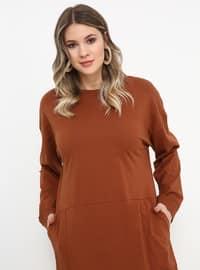 Tan - Unlined - Crew neck - Cotton - Plus Size Dress