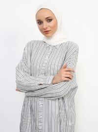 Gray - Stripe - Point Collar - Viscose - Tunic
