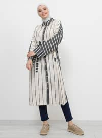 Black - Stripe - Unlined - Point Collar - Cotton - Linen - Topcoat