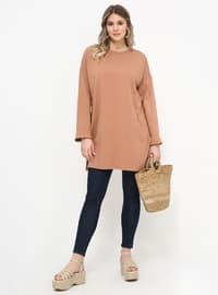 Camel - Crew neck - Cotton - Plus Size Tunic