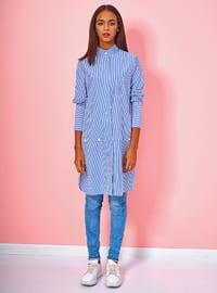 Blue - Stripe - Button Collar - Cotton - Blouses