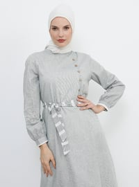Khaki - Stripe - Polo neck - Fully Lined - Cotton - Dress
