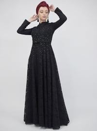Black - Crew neck - Muslim Evening Dress