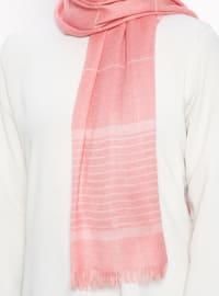 Coral - Striped - Fringe - Shawl