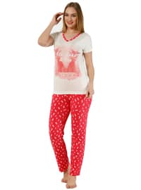 Red - Ecru - Crew neck - Polka Dot - Pyjama