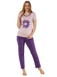 Purple - Powder - Crew neck - Pyjama
