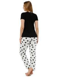 Black - White - Crew neck - Polka Dot - Pyjama