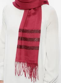 Plum - Striped - Plain - Fringe - Viscose - Shawl