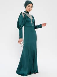 Green - Emerald - Fully Lined - Crew neck - Muslim Evening Dress