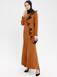Tan - Unlined - Crew neck - Muslim Evening Dress