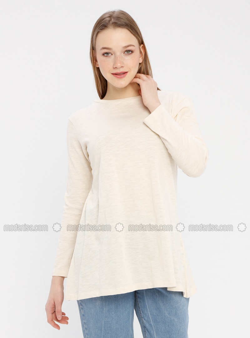 Beige - Crew neck - Cotton - Tunic