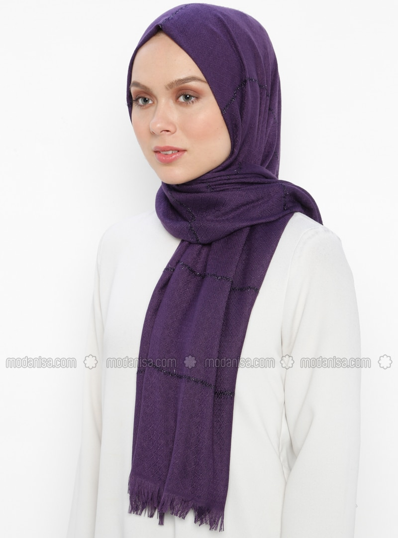 Purple - Striped - Plain - Fringe - Shawl