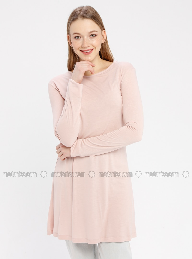 Dusty Rose - Crew neck - Cotton - Tunic