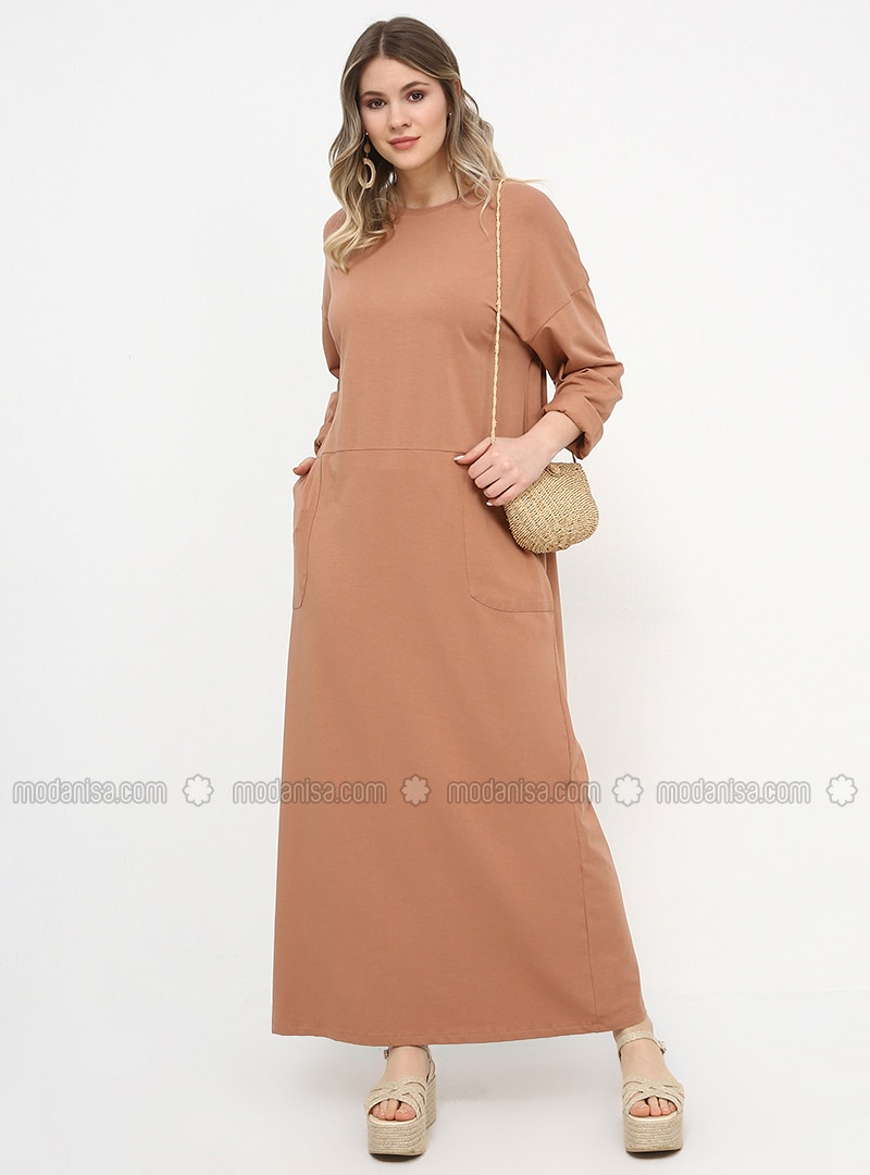 Camel - Unlined - Crew neck - Cotton - Plus Size Dress