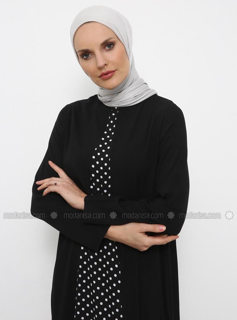 b6c3826e10bc7 Doğal Kumaşlı Puantiyeli Elbise - Siyah