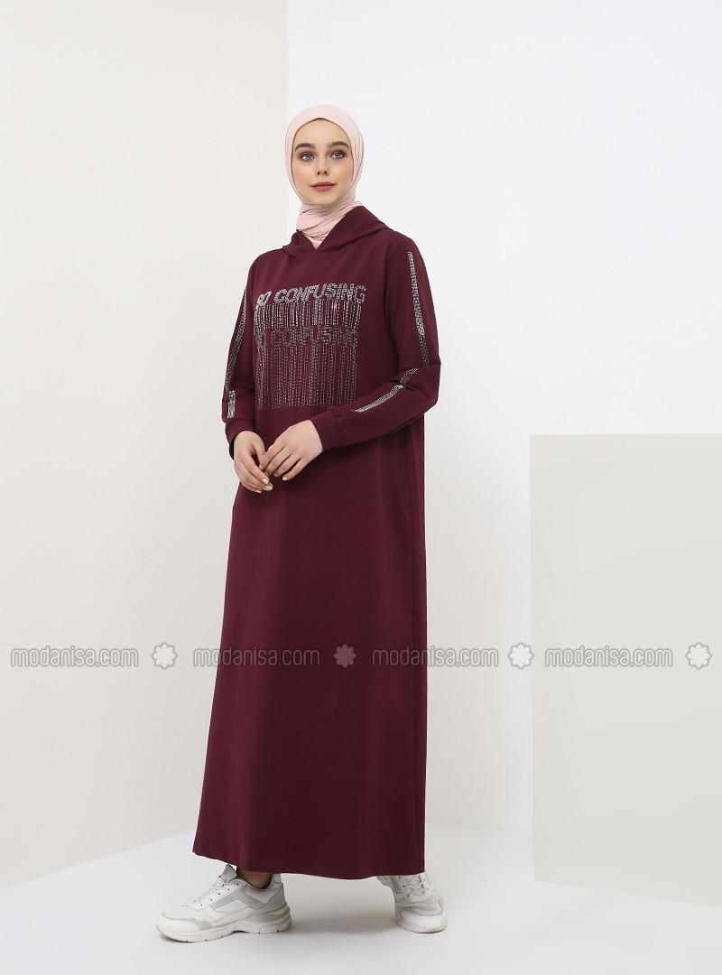 Plum - Unlined - Cotton - Dress