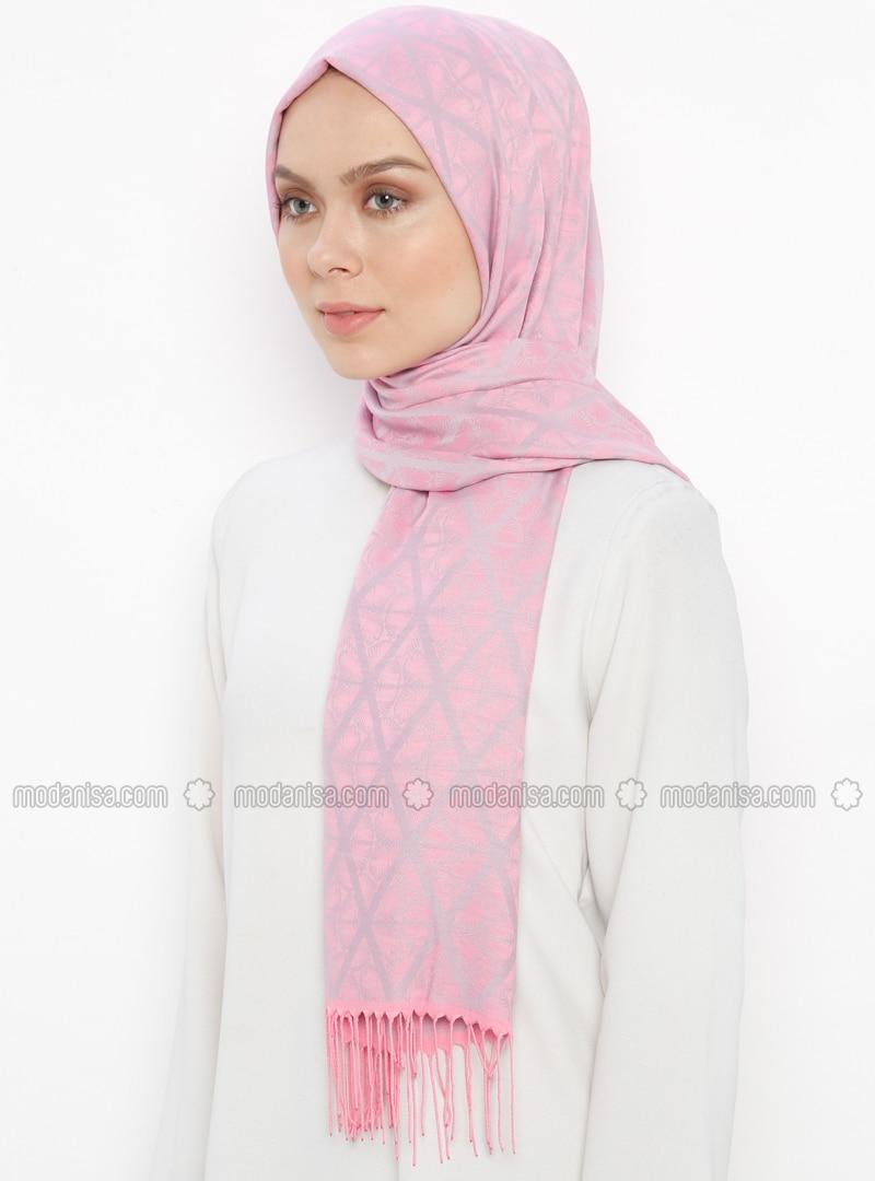 Pink - Striped - Jacquard - Fringe - Shawl