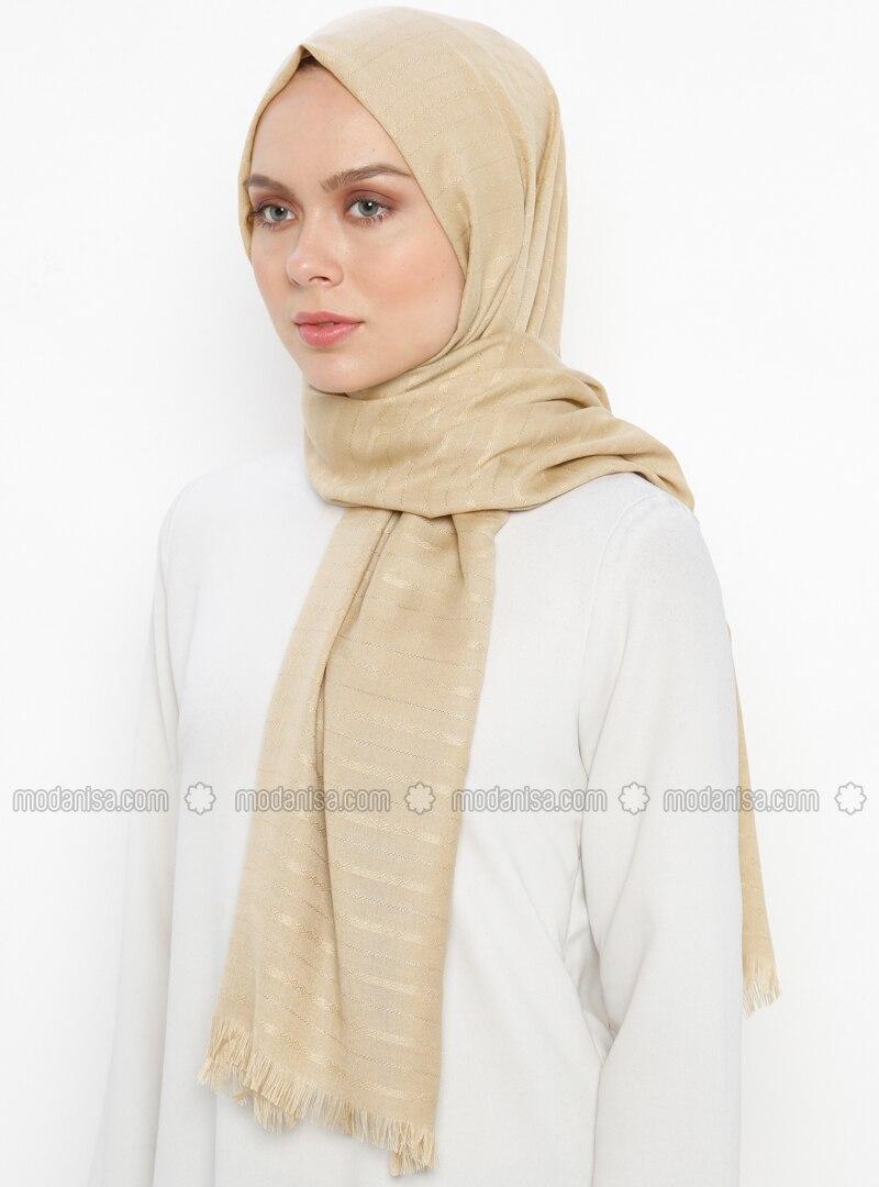 Camel - Plain - Fringe - Shawl